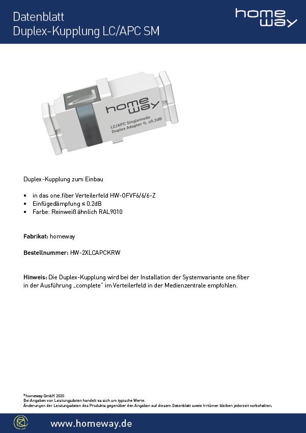 Datenblatt Duplex Kupplung