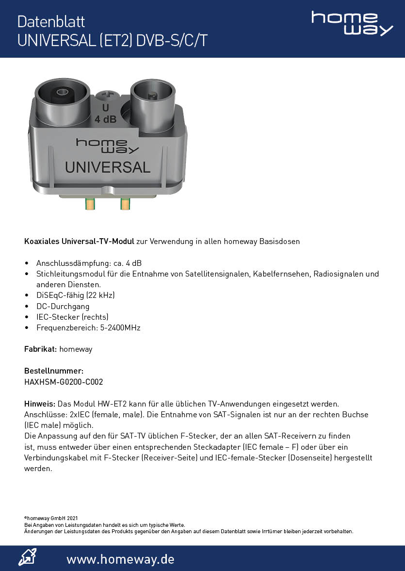 Datenblatt homeway TV-Modul ET2