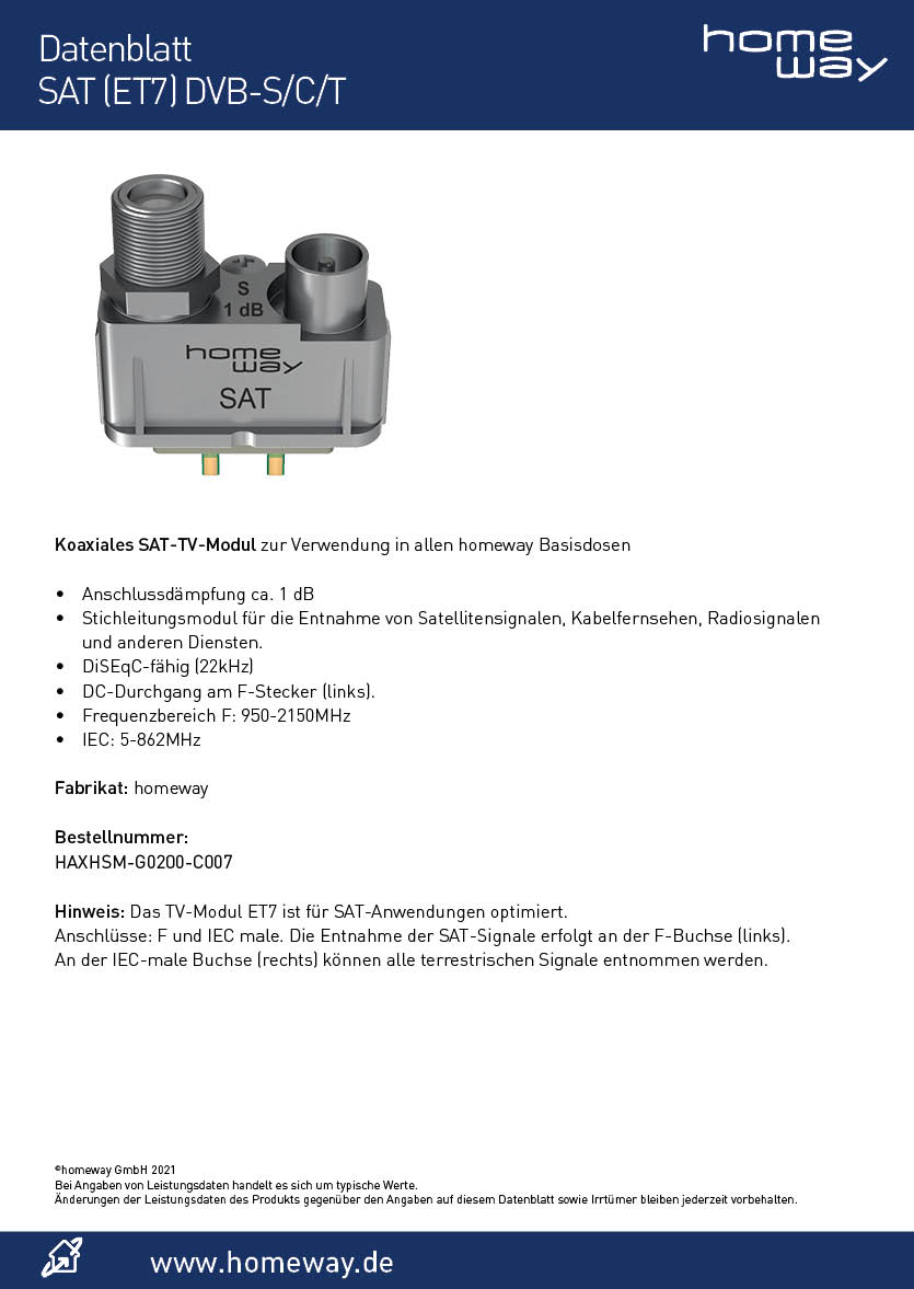 Datenblatt homeway TV-Modul ET7