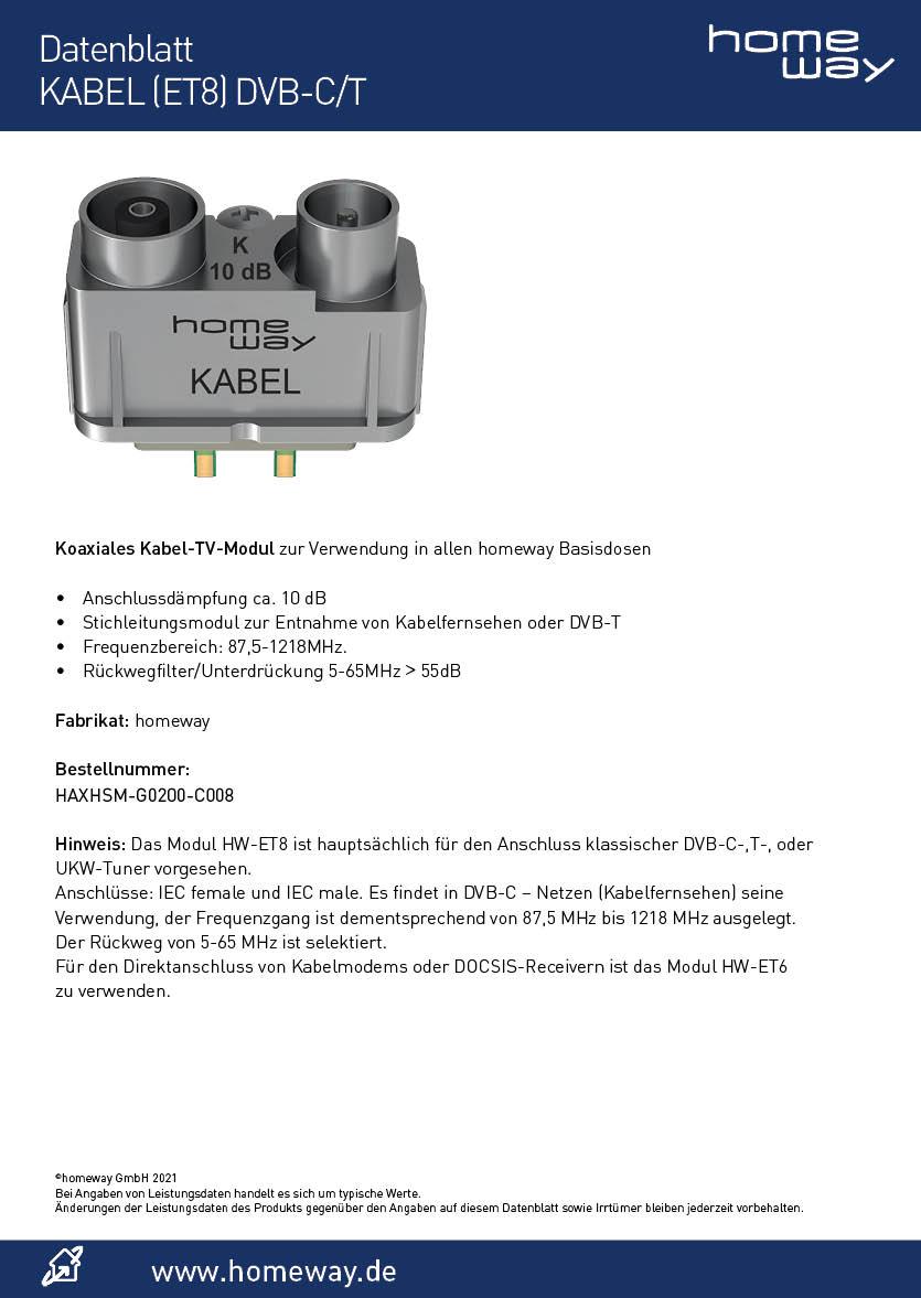 Datenblatt homeway TV-Modul ET8