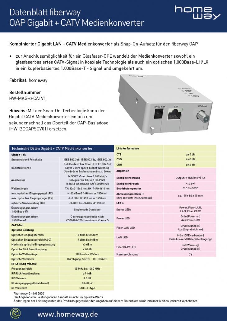 Datenblatt OAP Gigabit CATV Konverter