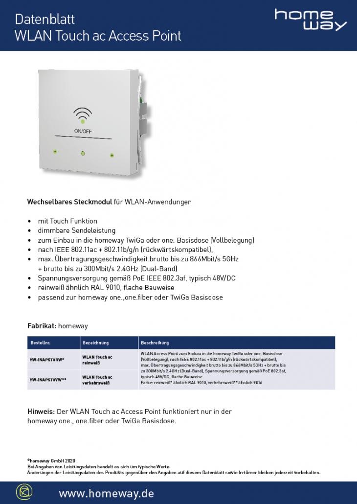 Datenblatt WLAN Touch ac