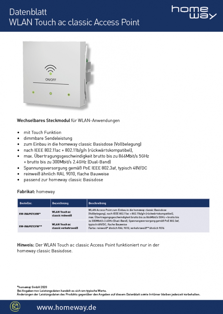 Datenblatt WLAN Touch ac classic