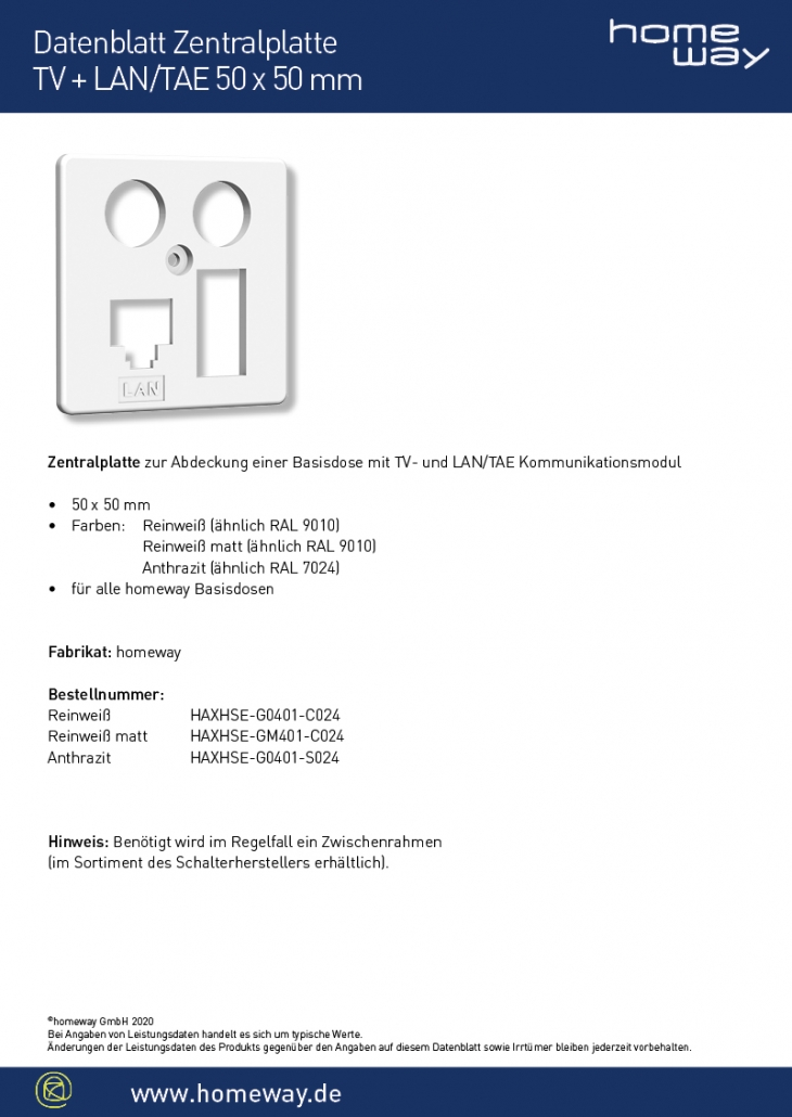 Datenblatt ZP 50x50 TV-LAN-TAE