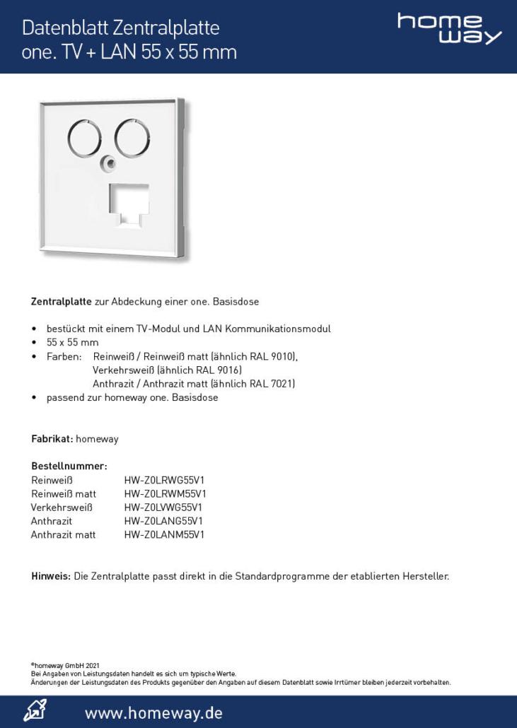 Datenblatt ZP 55x55 one TV-LAN
