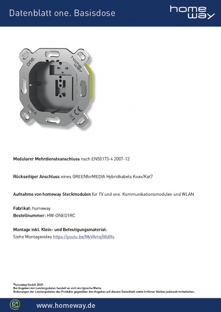 Datenblatt one. Basisdose