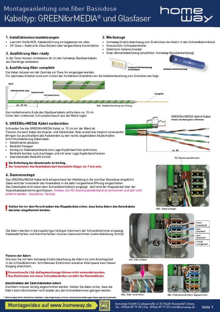 Montageanweisung one.fiber Basisdose