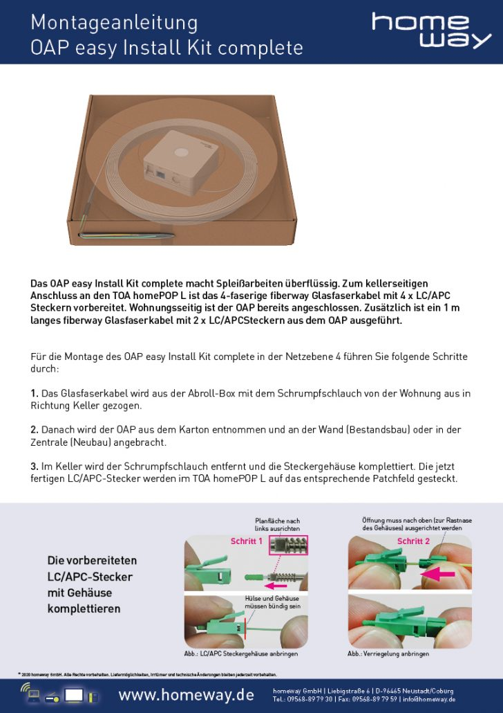 Montageanleitung OAP easy Install Kit - complete