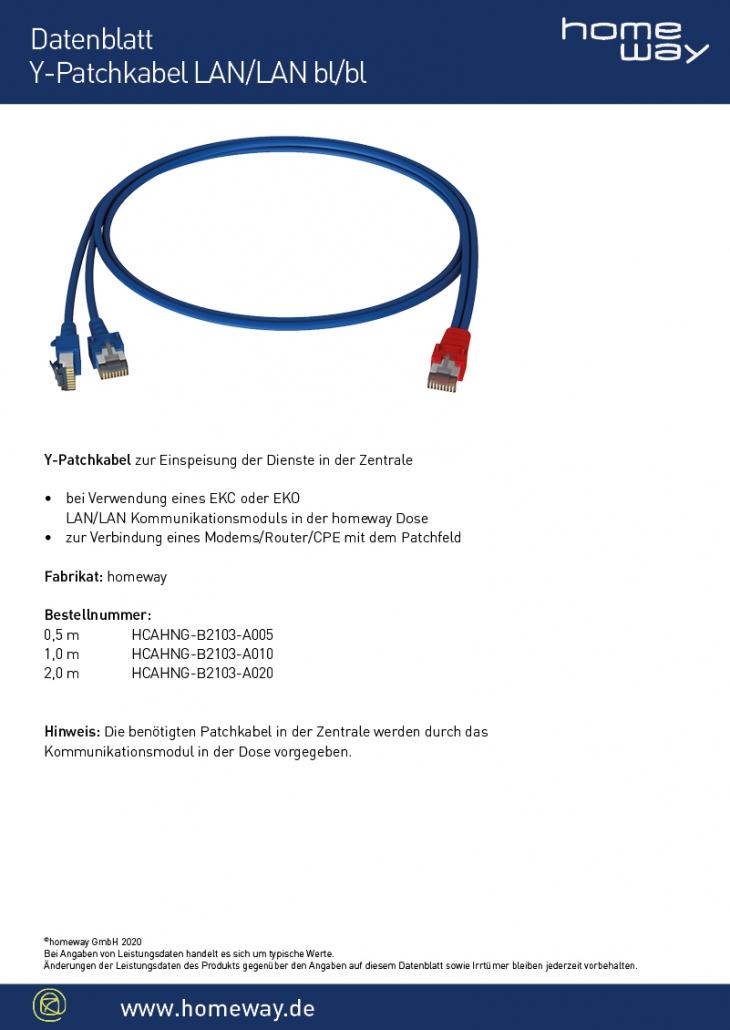 Datenblatt Y-Patchkabel LAN-LAN