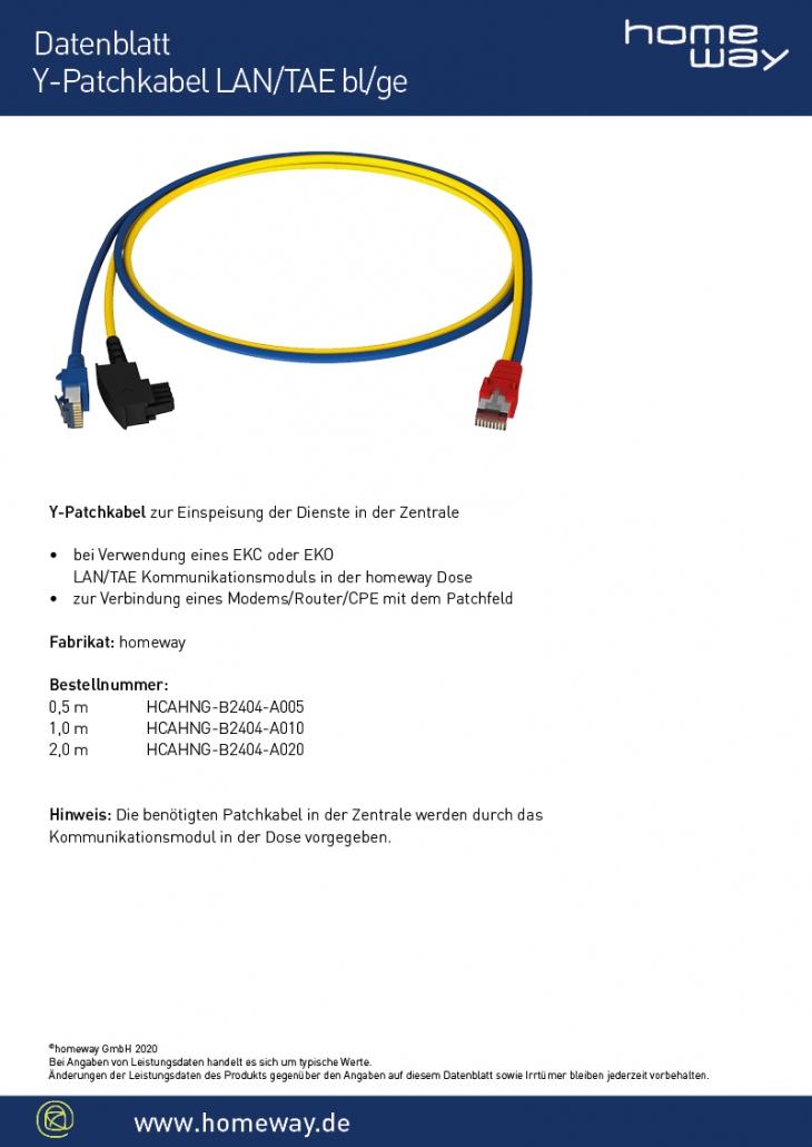 Datenblatt Y-Patchkabel LAN-TAE