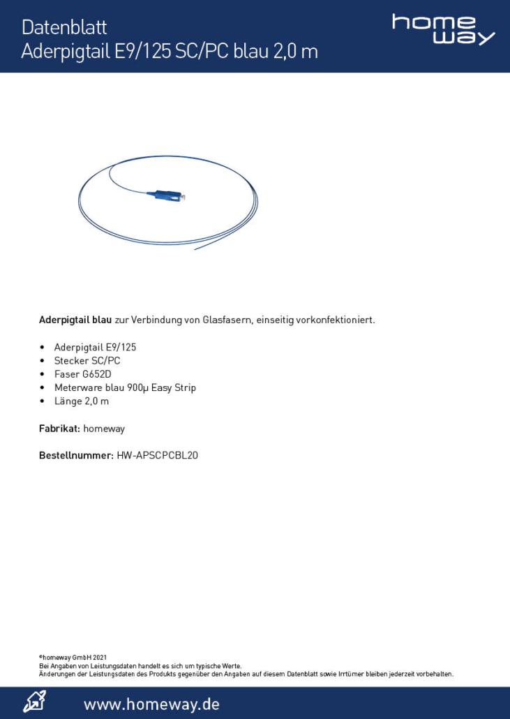 Datenblatt Aderpigtail E9-125 SC-PC blau 2,0 m