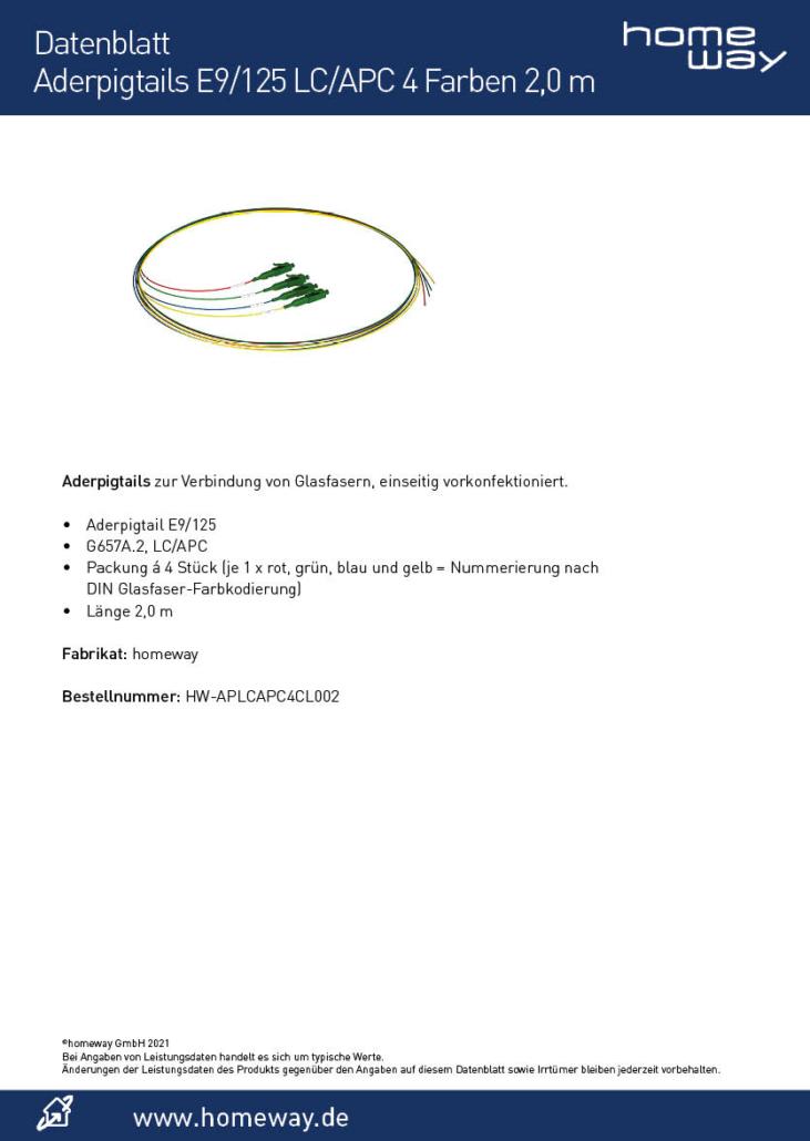 Datenblatt Aderpigtails E9-125 LC-APC 4 Farben 2,0 m