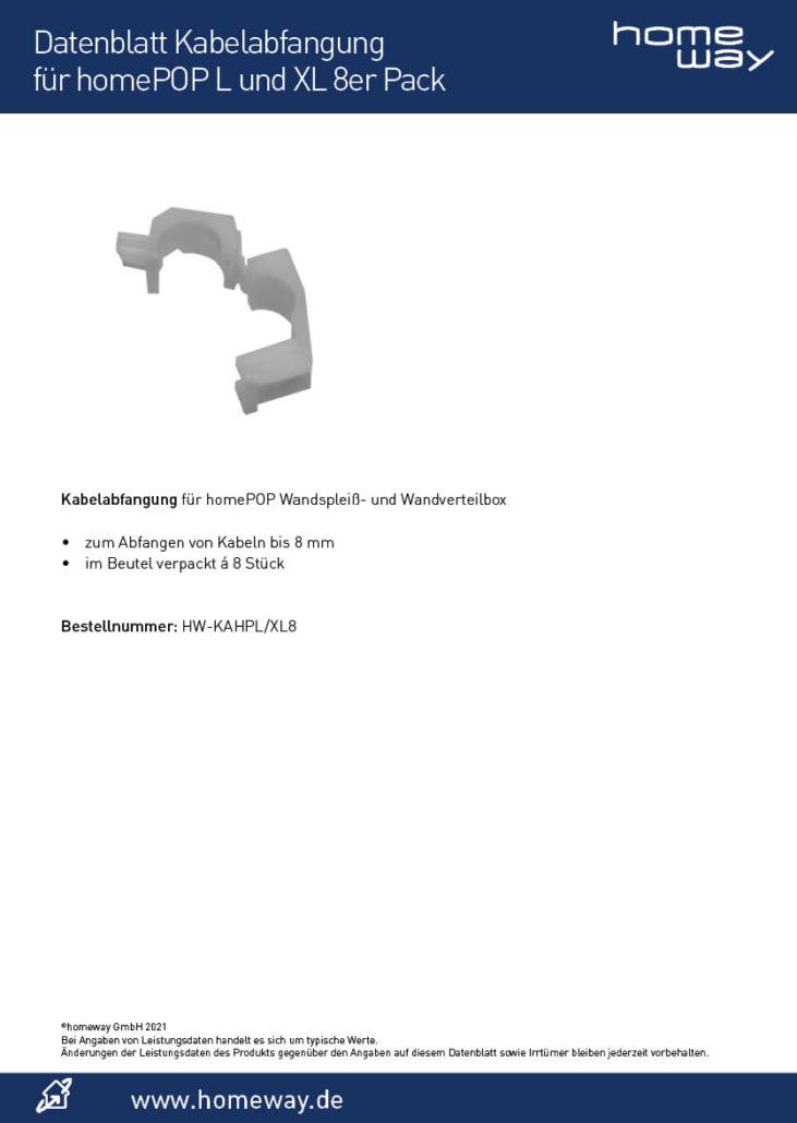 Datenblatt Kabelabfangung für homePOP L und XL 8er Pack