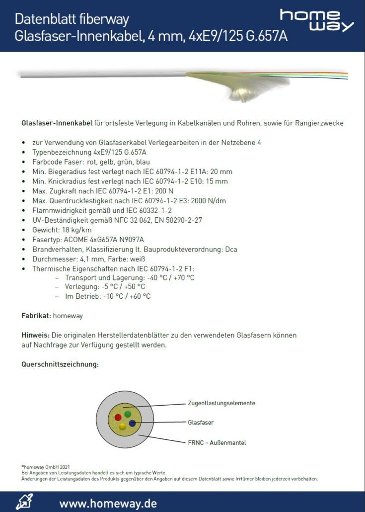 Datenblatt Glasfaser-Innenkabel 4 mm 4xE9125 G657A