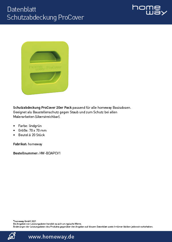 Datenblatt Schutzabdeckung ProCover